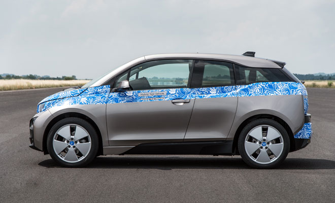 BMW i3 in light disguise - side view
