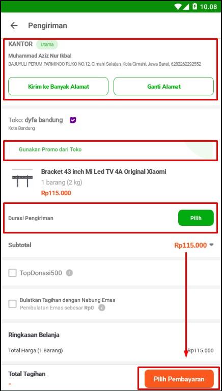 Melakukan Checkout/ Pengaturan Pembelian Produk di Aplikasi Tokopedia.