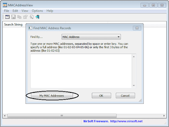klik tombol My MAC Addresses