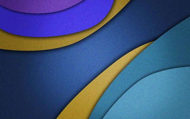Blauwe abstracte wallpaper met gekleurde banen