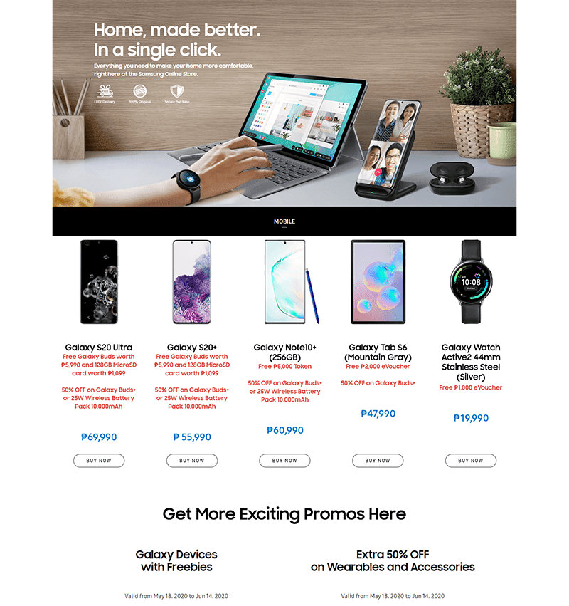 Frontpage of the new Samsung Online Store