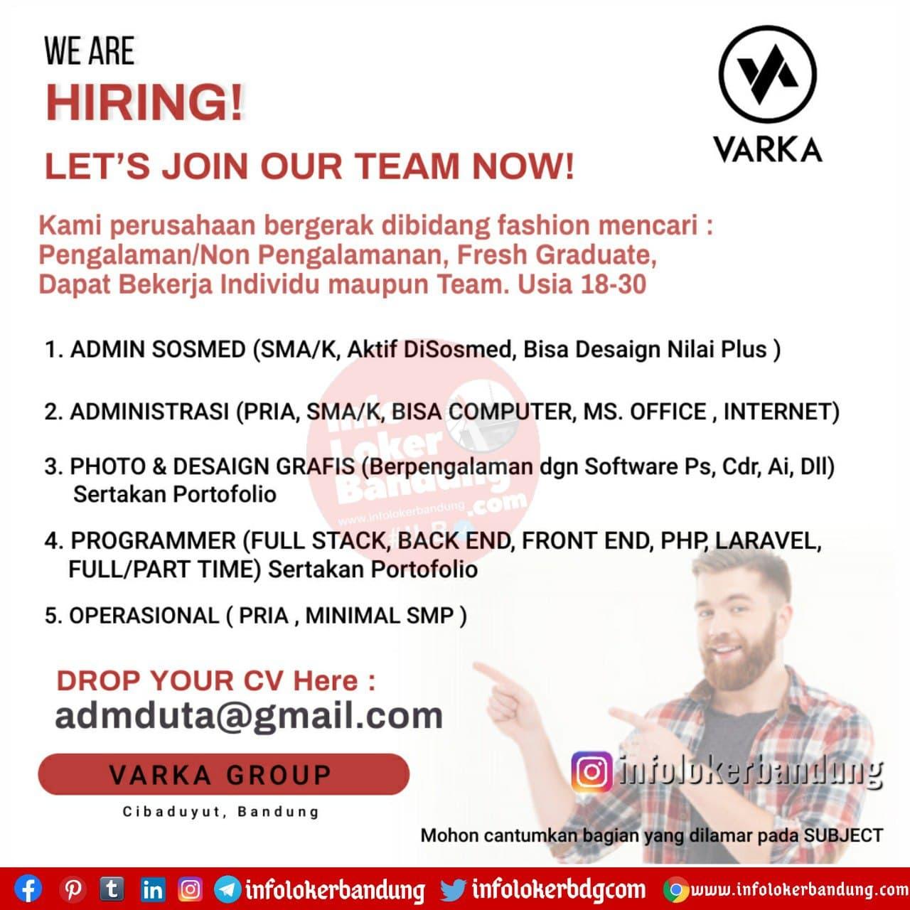 Lowongan Kerja Varka Group Bandung Desember 2020
