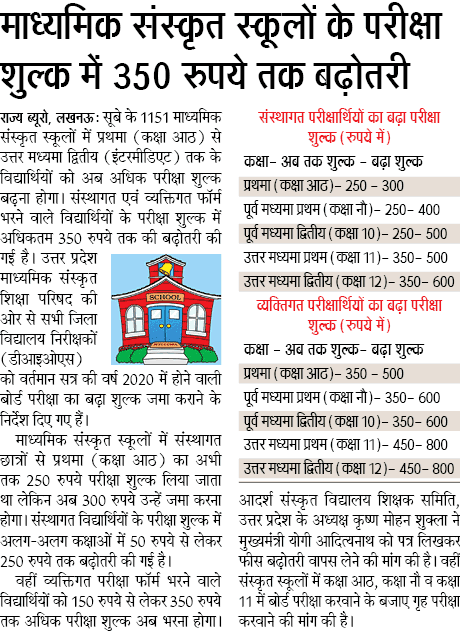 madhyamik sanskrit school fees hike up to 350 माध्यमिक संस्कृत स्कूलों के परीक्षा शुल्क में 350 रुपये तक बढ़ोतरी