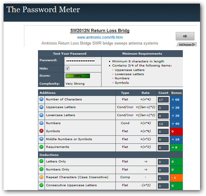 The password metter