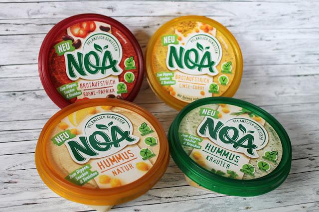 Testpaket NOA-Produkte: Brotaufstrich Bohne-Paprika, Brotaufstrich Linse-Curry, Hummus Natur, Hummus Kräuter
