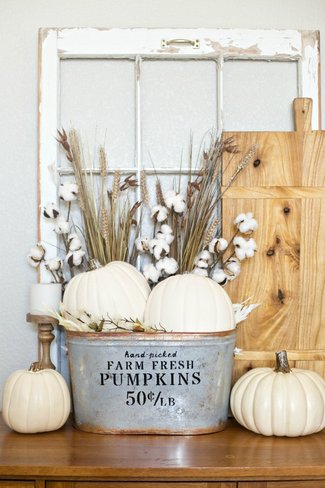 Farmhouse style pumpkin bucket fall decor project idea