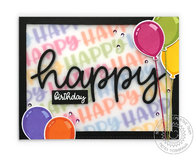 Sunny Studio Stamps: Happy Thoughts Birthday Balloon Card by Mendi Yoshikawa
