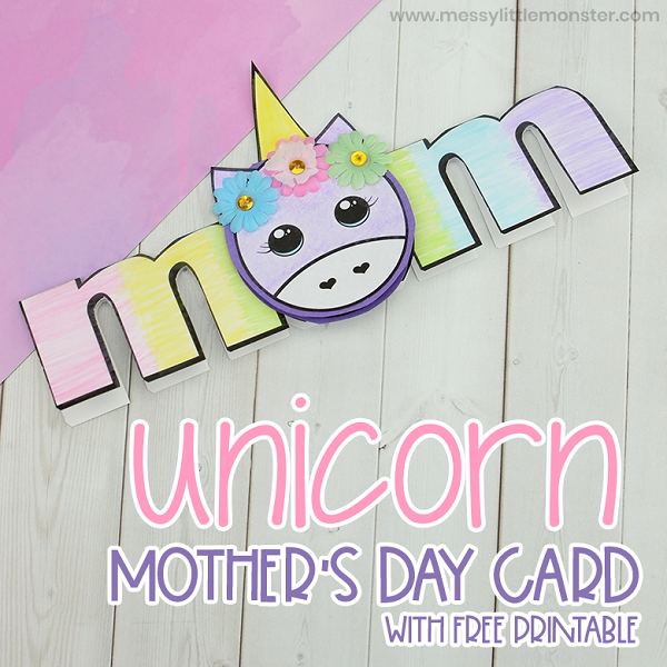 Printable unicorn mom card for Mother's Day
