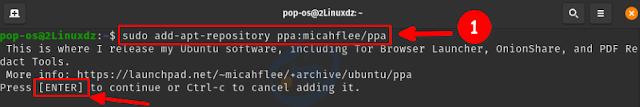 إضافة مستودع PPA لمتصفح Tor