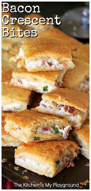 Bacon Crescent Bites ~ Tasty little bites loaded with creamy bacon filling sandwiched between two layers of flaky crescent roll crust. Make these easy bites for parties, potlucks, breakfast, lunch, OR dinner - There's never a wrong time to enjoy them! #baconbites #bacon #crescentrolls www.thekitchenismyplayground.com