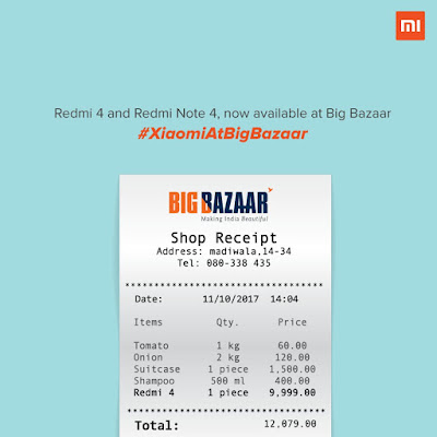 redmi 4 and redmi note 4 available in Big Bazaar market