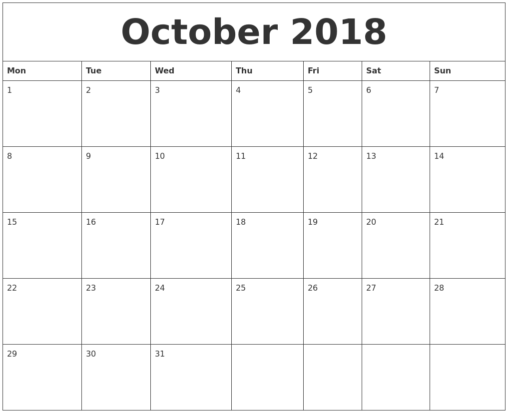 October 2018 calendar Holiday