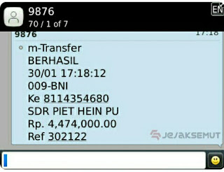 contoh bukti transfer bca sms