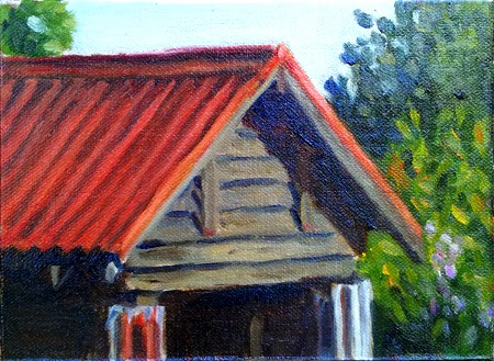 Oil painting of a shed with a red roof, with trees behind.