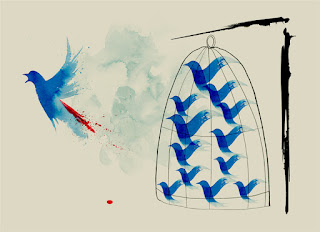 caged blue birds with one flying away
