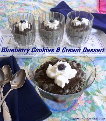 Blueberry Cookies and Cream Dessert celebrate fresh blueberries in this creamy dessert made from cream cheese and jello with a few surprise ingredients added for flavor. | Recipe developed by www.BakingInATornado.com | #recipe #dessert