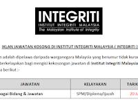 Jawatan Kosong Terkini 2019 di Institut Integriti Malaysia ( INTEGRITI )