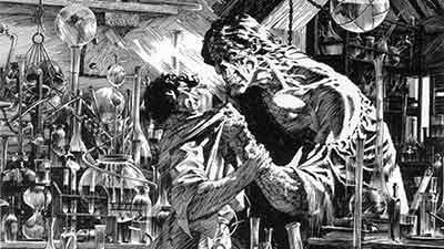 Viñeta de la impresionante adaptación de Frankenstein.
