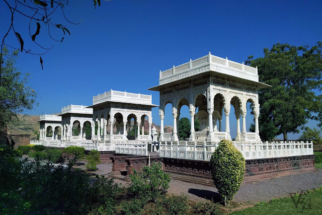Cenotaphs built around Jaswant Thada in white marble stone
