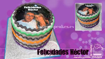 Tarta personalizada impresión comestible fondant cumpleaños felicidades Laia's Cupcakes Puerto Saguto