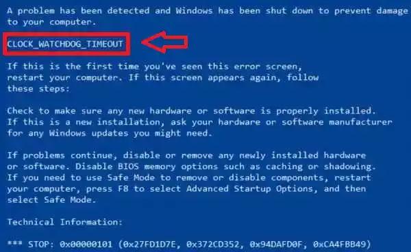 حل مشكلة Clock Watchdog Timeout (الشاشة الزرقاء) في ويندوز 10