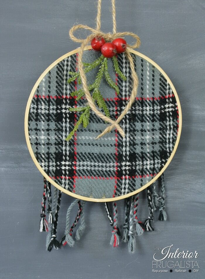 Festive Recycled Plaid Sweater Ornaments