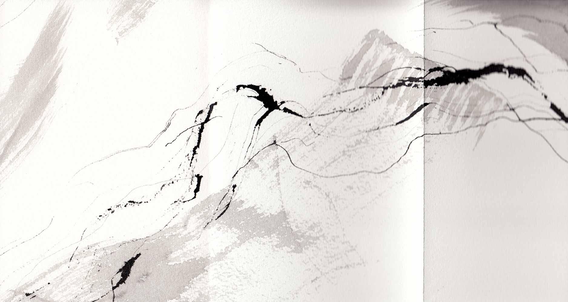 Livre-frise 14 Encre de Chine et lavis sur papier © Annik Reymond
