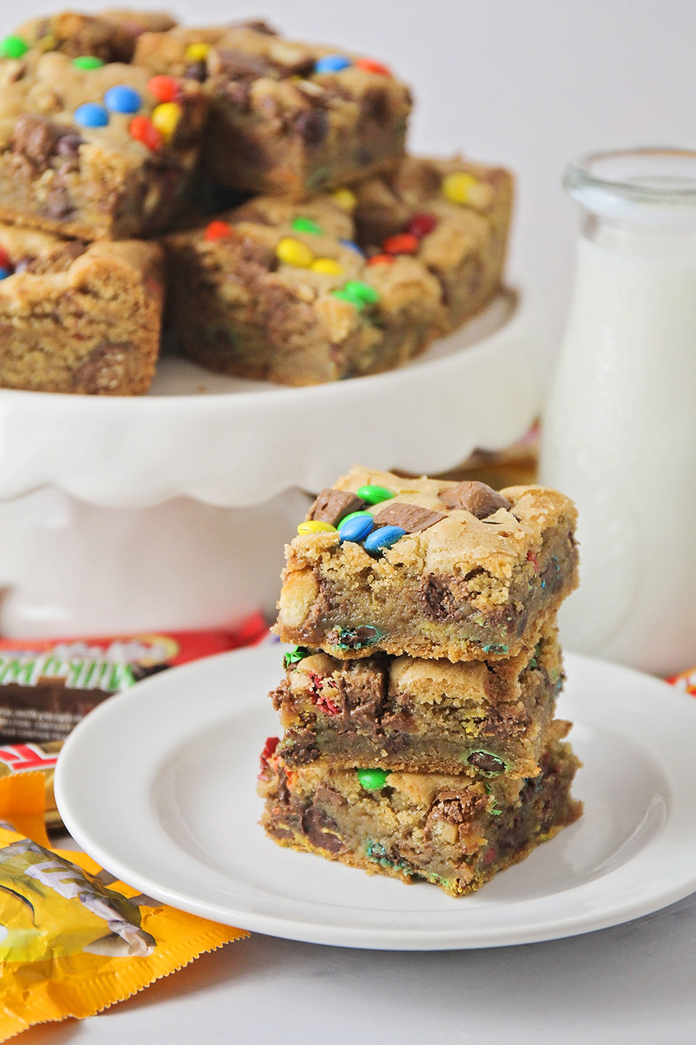 These candy bar blondies are so delicious and indulgent, and loaded with all of your favorite treats!