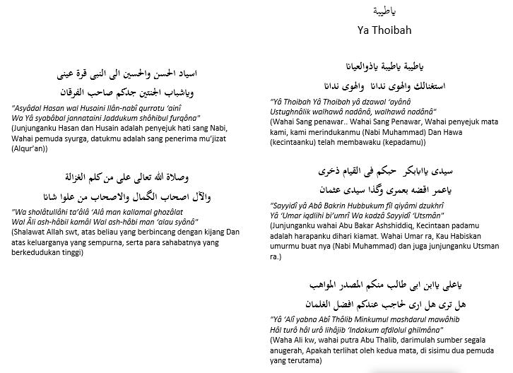 Teks Lirik Sholawat Ya Thoibah - Sulis Feat Haddad Alwi - Arab Latin dan Artinya
