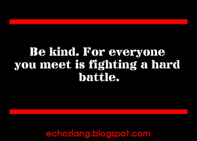 Be Kind, for everyone you meet is fighting a hard battle