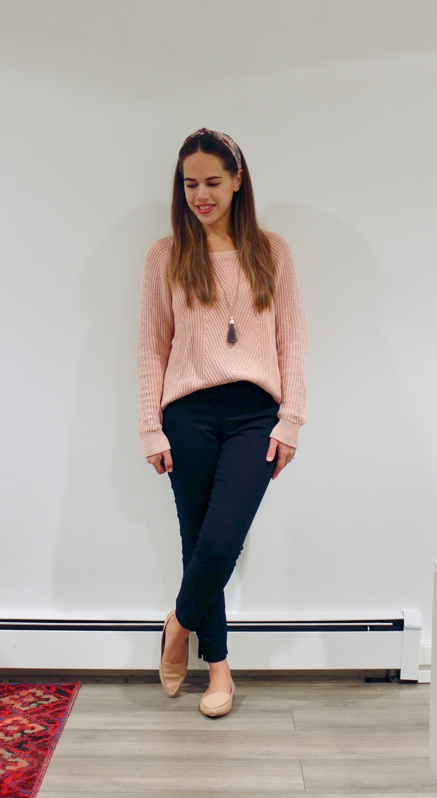 Jules in Flats - Gap Shaker Stitch Pink Sweater (Business Casual Fall Workwear on a Budget)