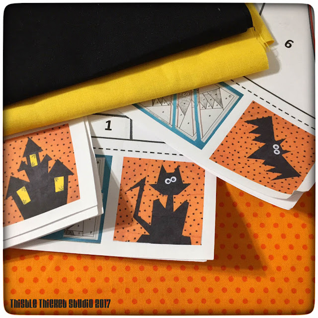 Thistle Thicket Studio, paper peicing, halloween quilt blocks, Made by Marney pattern,