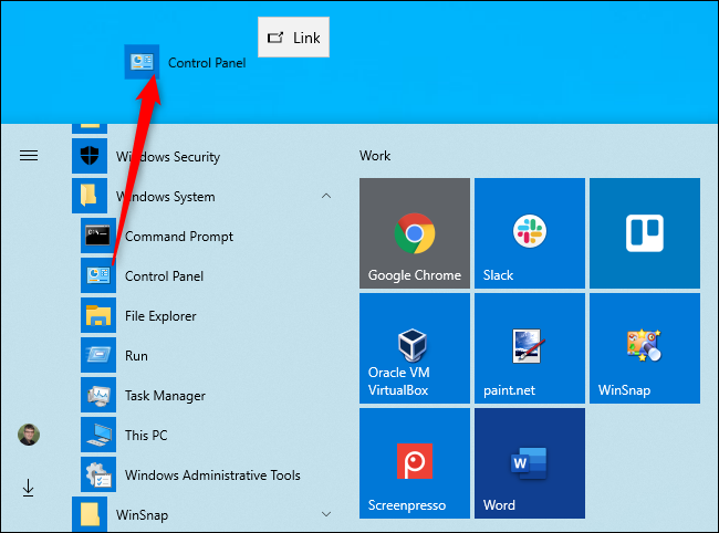 إنشاء اختصار سطح المكتب إلى لوحة التحكم على نظام التشغيل Windows 10