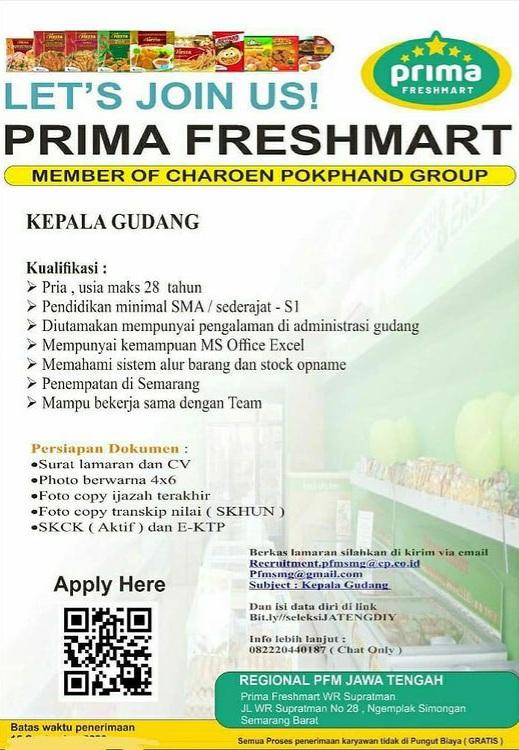 Lowongan Kepala Gudang Prima Freshmart Semarang