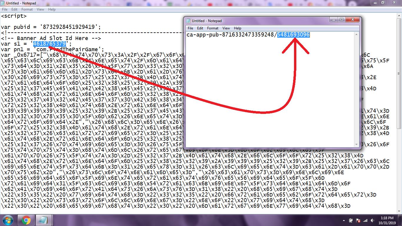 Notepad Ad Code
