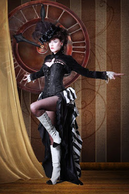 Victorian era Showgirl style skirt or dress is open in the front and popular in Steampunk burlesque and cabaret costumes