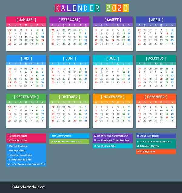 Download Kalender 2020 Indonesia Pdf, PNG Lengkap Dengan