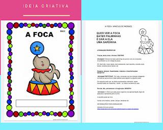 Atividades de acordo com a BNCC  Educação Infantil inspiradas na música A FOCA de Vinicius de Moraes