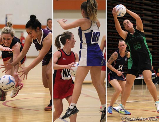 L-R: Anna Cudby, Central, Etana Luki, All In; Jade Poi, Proactive Hastings High School Old Girls HHSOG, Summer Taylor, Outkasts; Susan Benge, Havelock North, Nichola Heremaia, Otane - Super 6 netball, premier club competition at Pettigrew.Green Arena, Taradale, Napier. photograph