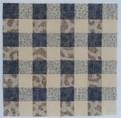 Luna Lovequilts - Gingham quilt block - Carolyn Friedlander Polk collection combined to Essex Linen