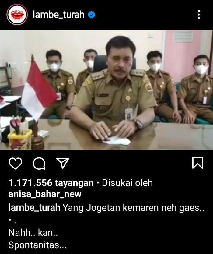 Permintaan maaf Kepala Desa yang videonya viral. Tangkapan layar Instagram @lambe_turah