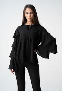 Monarh - Дамска ефирна Блуза с надиплени ръкави