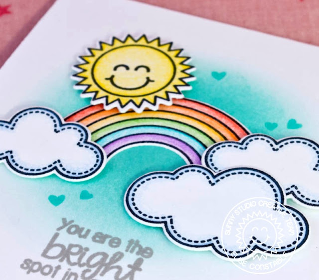Sunny Studio Stamps: Sunny Sentiments You Are The Bright Spot Rainbow & Sunshine Card by Elise Constable.