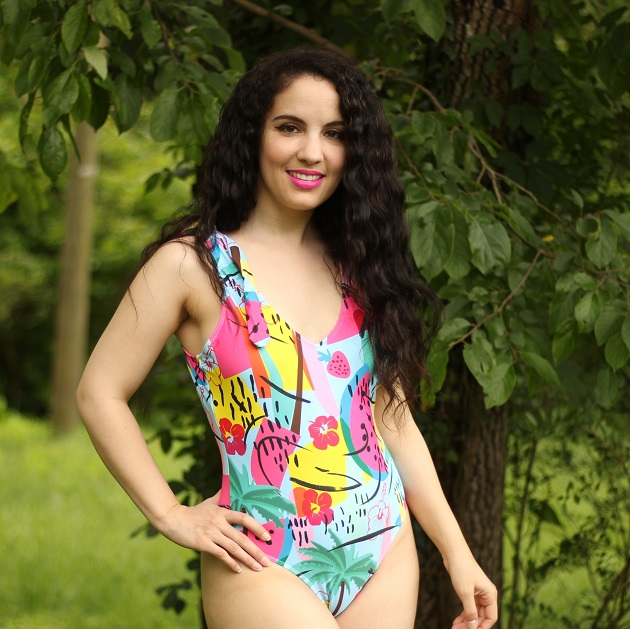 Shein Graphic Print One Piece Swimsuit