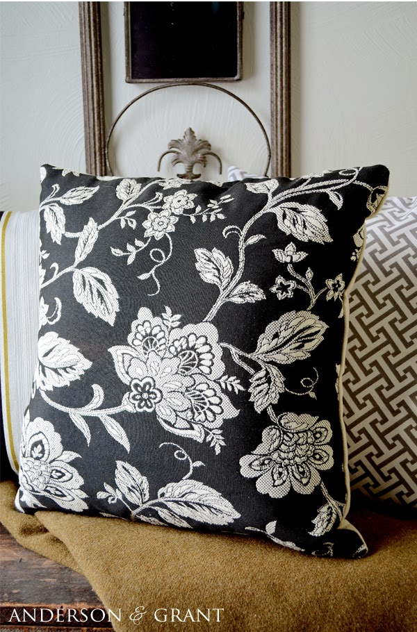 Black and white floral pillow
