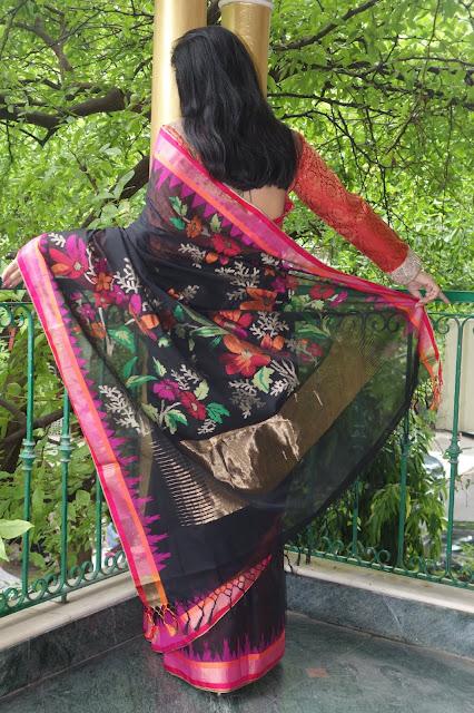 Black Jamdani Ponduru Charkha Khadi saree from Sohum Sutras