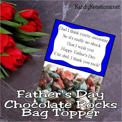 If you're looking for a quick and easy Father's day gift for everyone on your list, add some Chocolate rocks to a bag and top with this Fathers Day printable.  You'll have a sweet gift that tells dad he rocks!
