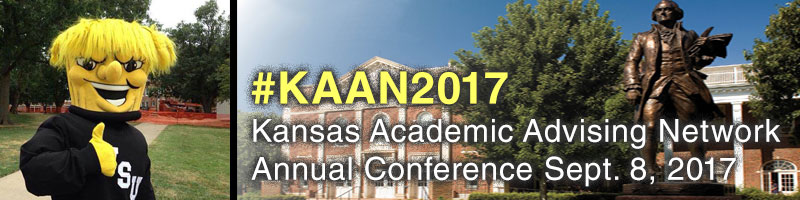 KAAN 2017: Kansas Academic Advising Network Annual Conference banner with photos of Wichita State University campus