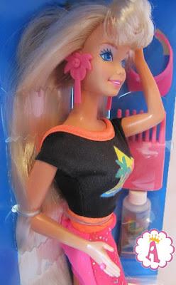 Коллекция 1993 года: кукла барби блондинка с очень длинными волосами и гелем для создания блестящих причесок