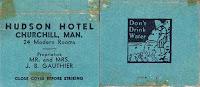 Streichholzheftchen des Hudson Hotel in Churchill